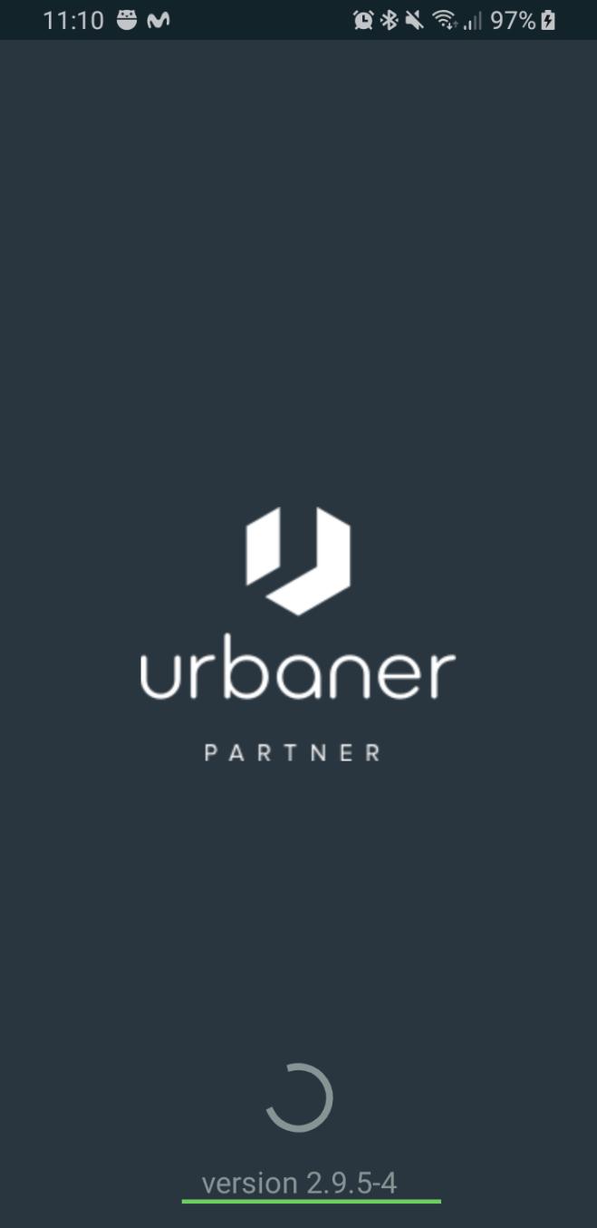 Pantalla que indica que estamos iniciando Urbaner y la versión actual