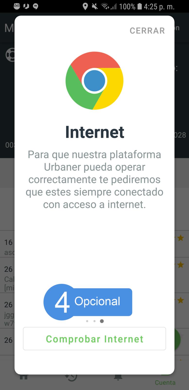 Comprobar el estado de internet.
