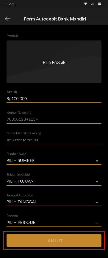 form aplikasi autodebit