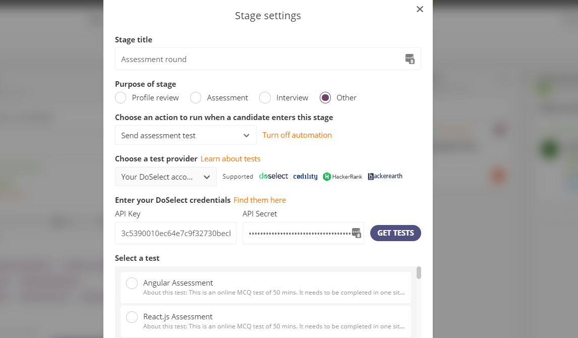 Edit the settings of any stage in the Job Pipeline