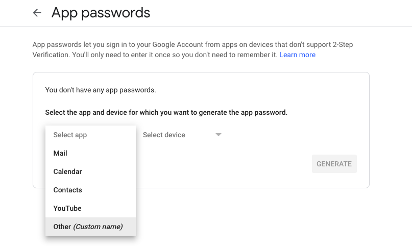 Generate app password 2