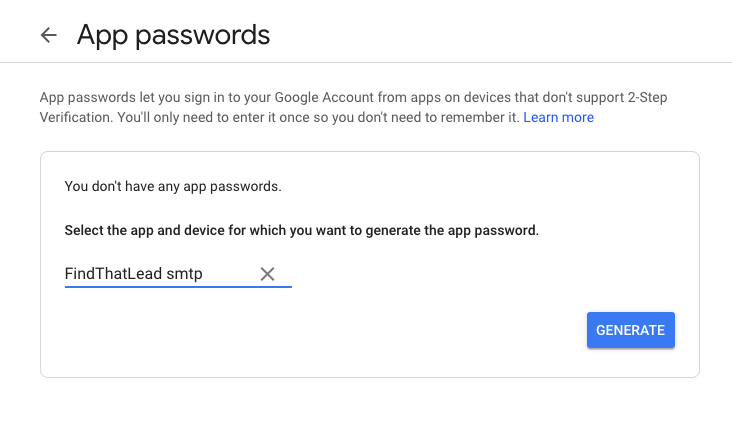 Generate app password 3
