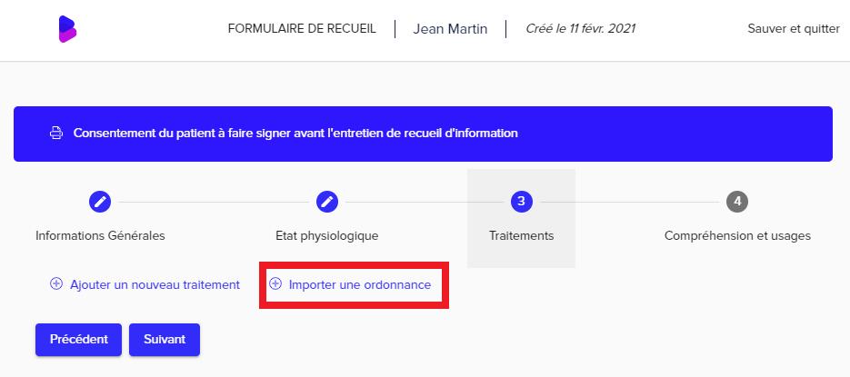 Dans l'éventualité où des traitements ont été ajoutés, le bouton se trouvera en bas de page, sous les traitements.