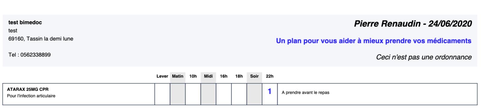 Exemple du plan de prise avec le conseil et l'indication pour la Rifampicine