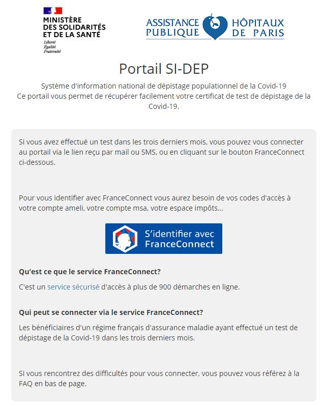 Page d'accueil de la plateforme Patient du SI-DEP