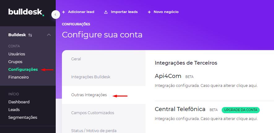 Configurações > Outras Integrações