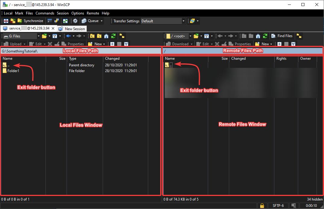 WinSCP window layout