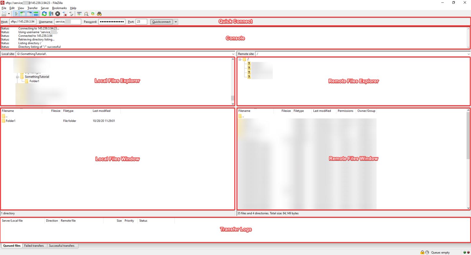 FileZilla's window layout