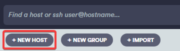 """""""New host"""" button on the Termius application"""