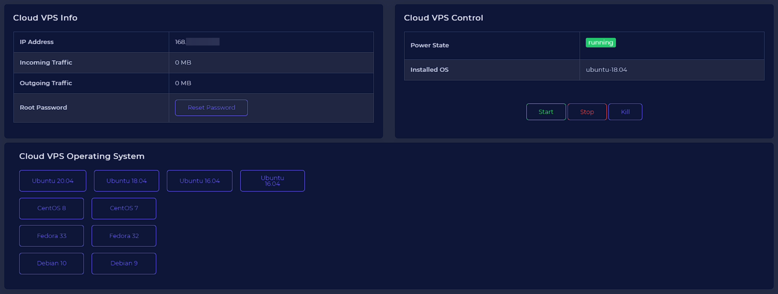 Example control panel for our powerful VPS