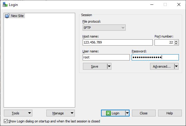 WinSCP Login example