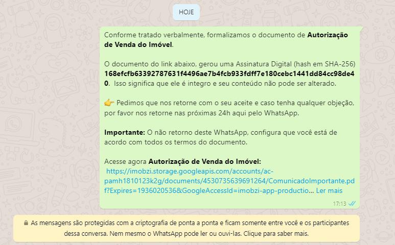 Notificando um Signatário pelo WhatsApp