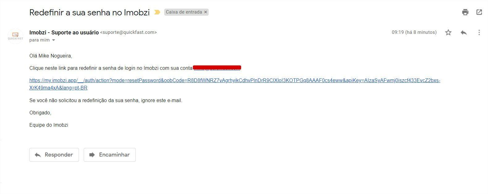 Exemplo de e-mail para redefinição de senha