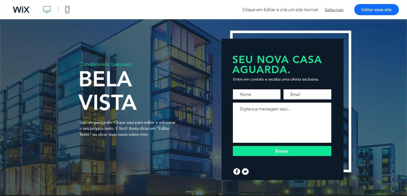 Exemplo de Landing Page, por wix.com