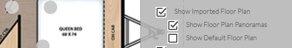 インポートされた平面図上のパノラマのポイント