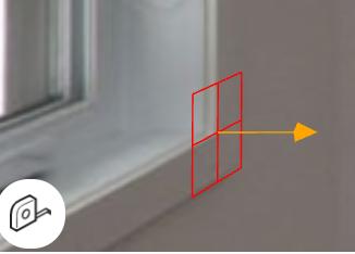 3D測定カーソルを窓に当てている様子