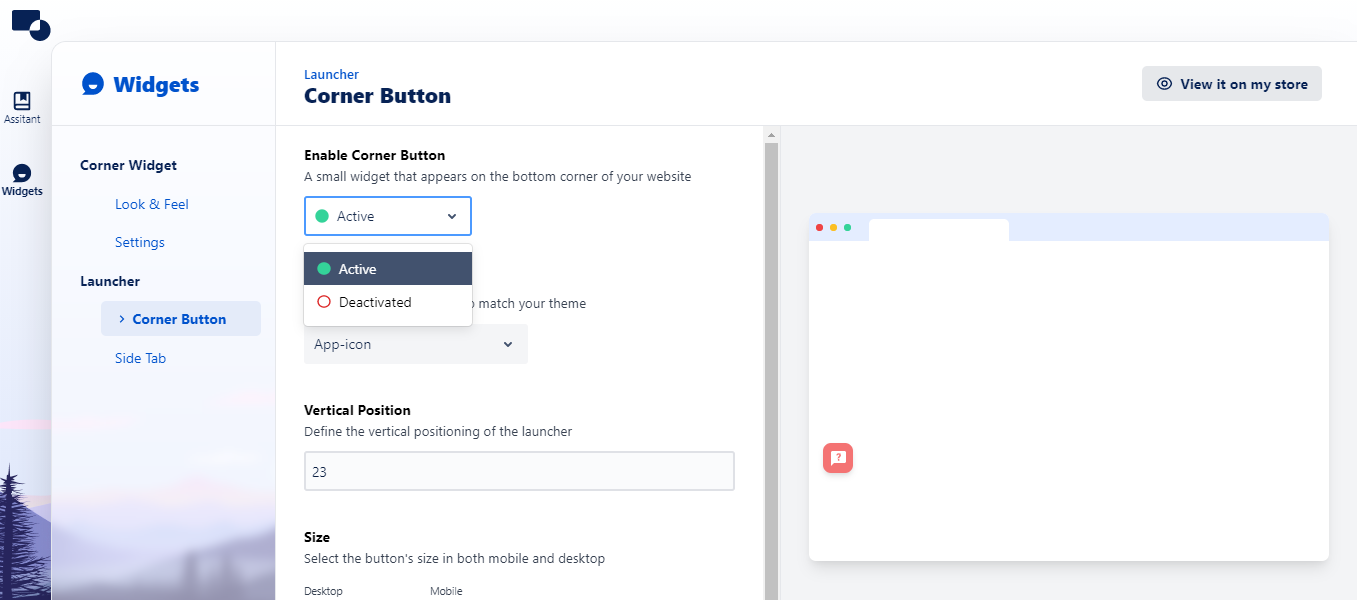 Preview of Corner button as Active