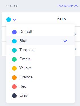 Tag Colors Dropdown