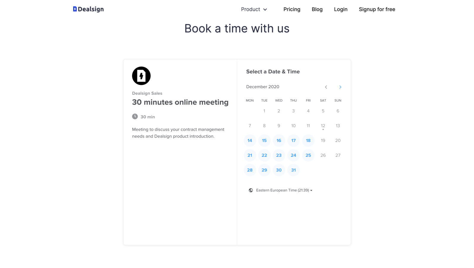 Schedule a meeting with Dealsign