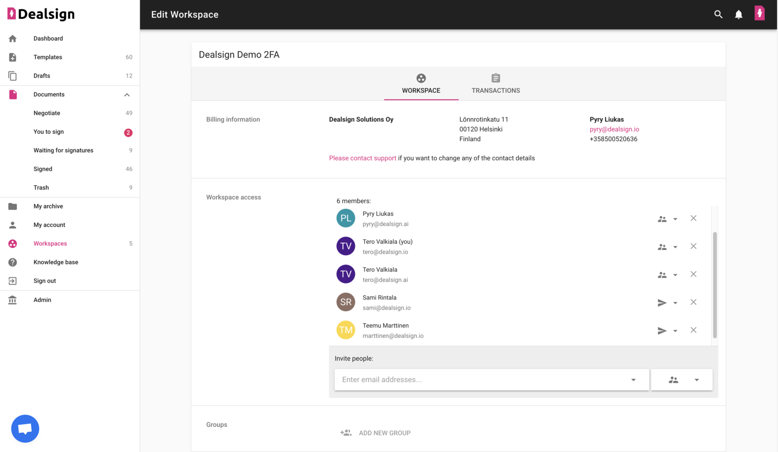 Invite users and manage workspace user permissions