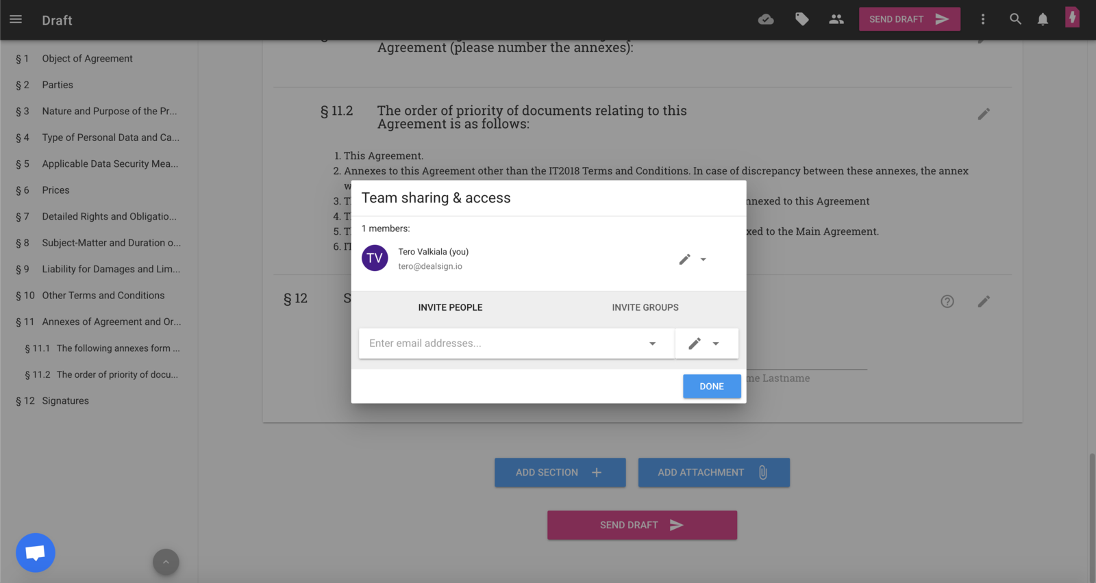 Team sharing & access
