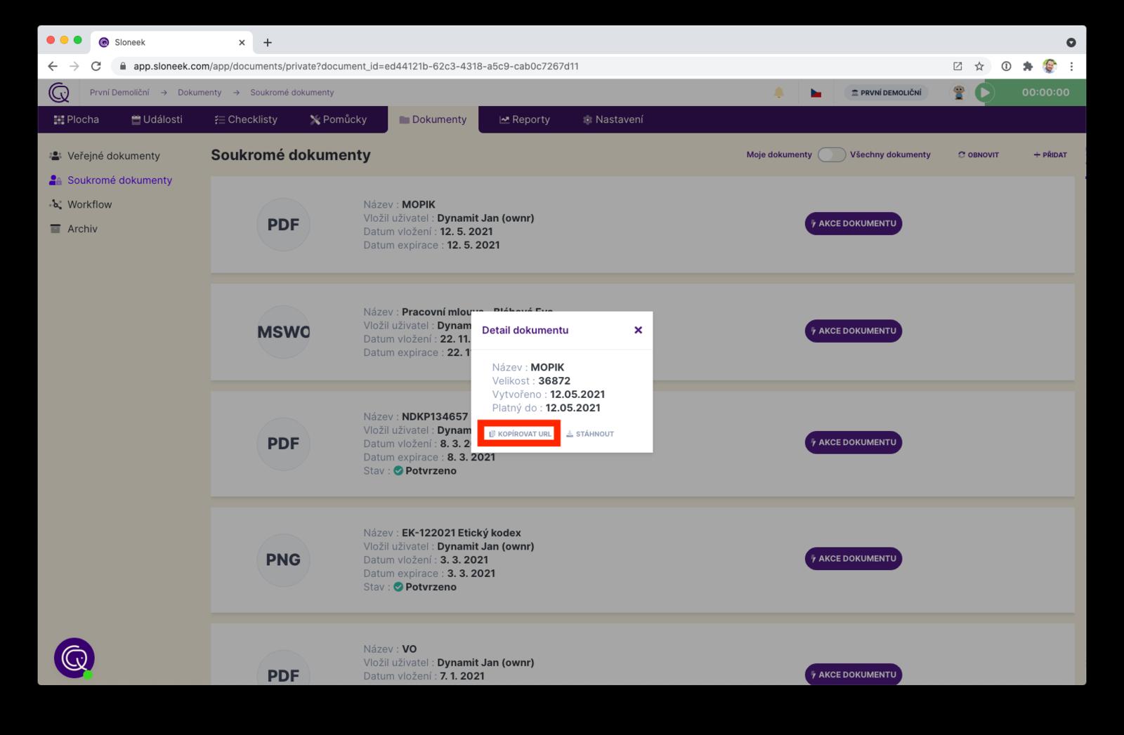 Kopírování URL dokumentu