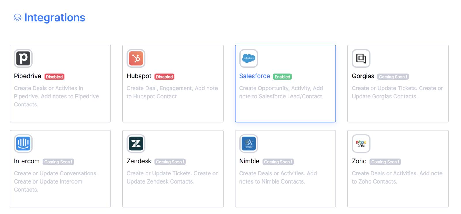 Intégration Salesforce réussi