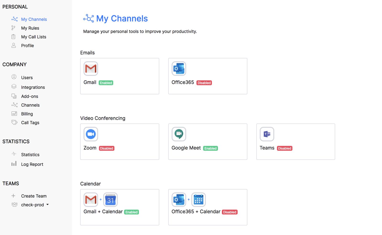 Intégration Gmail Calendar et Meet réussi