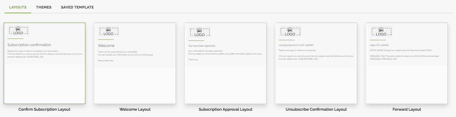 Confirm Subscription Layout