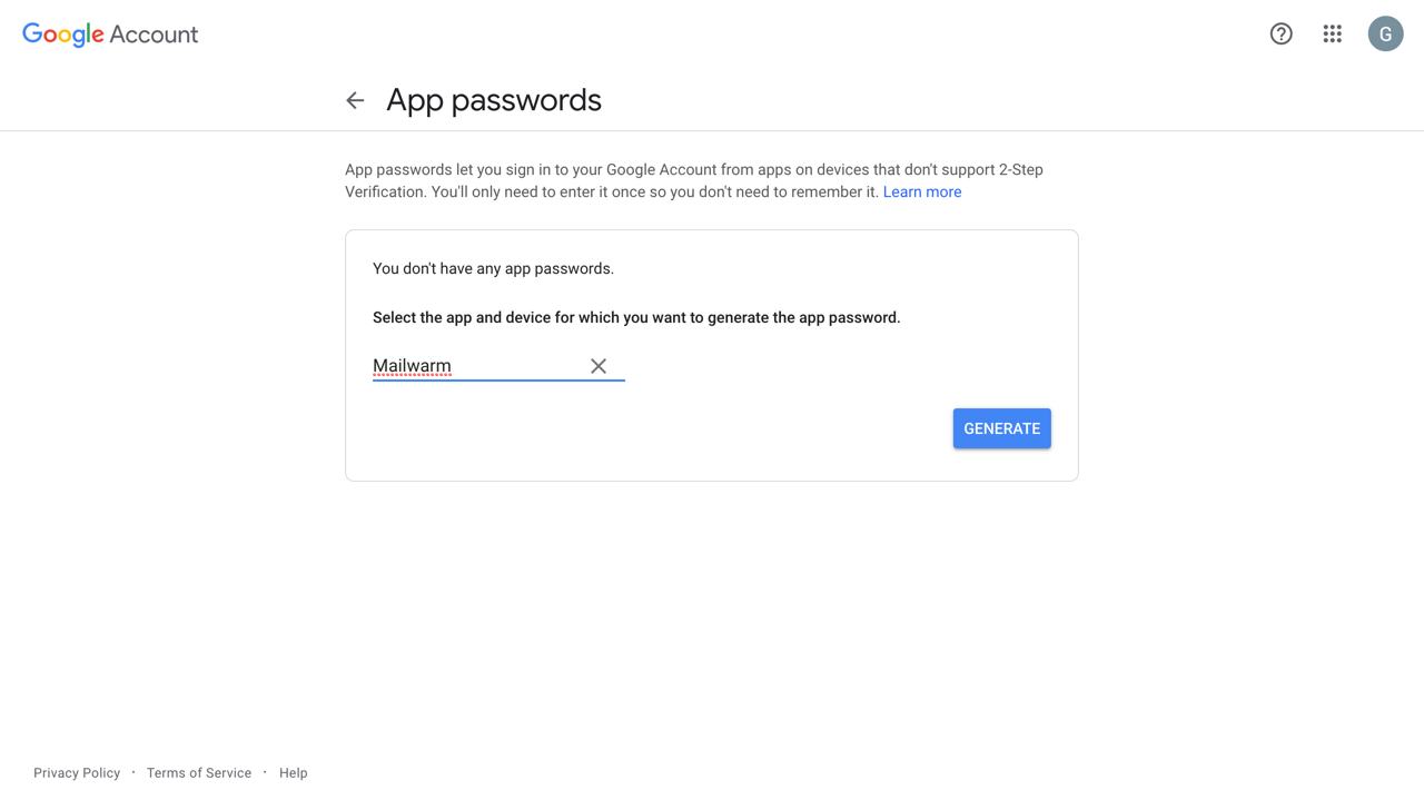 google-app-password-generate