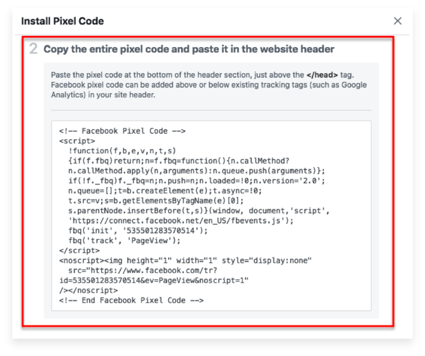 Paste the pixel code in your website/landing page builder