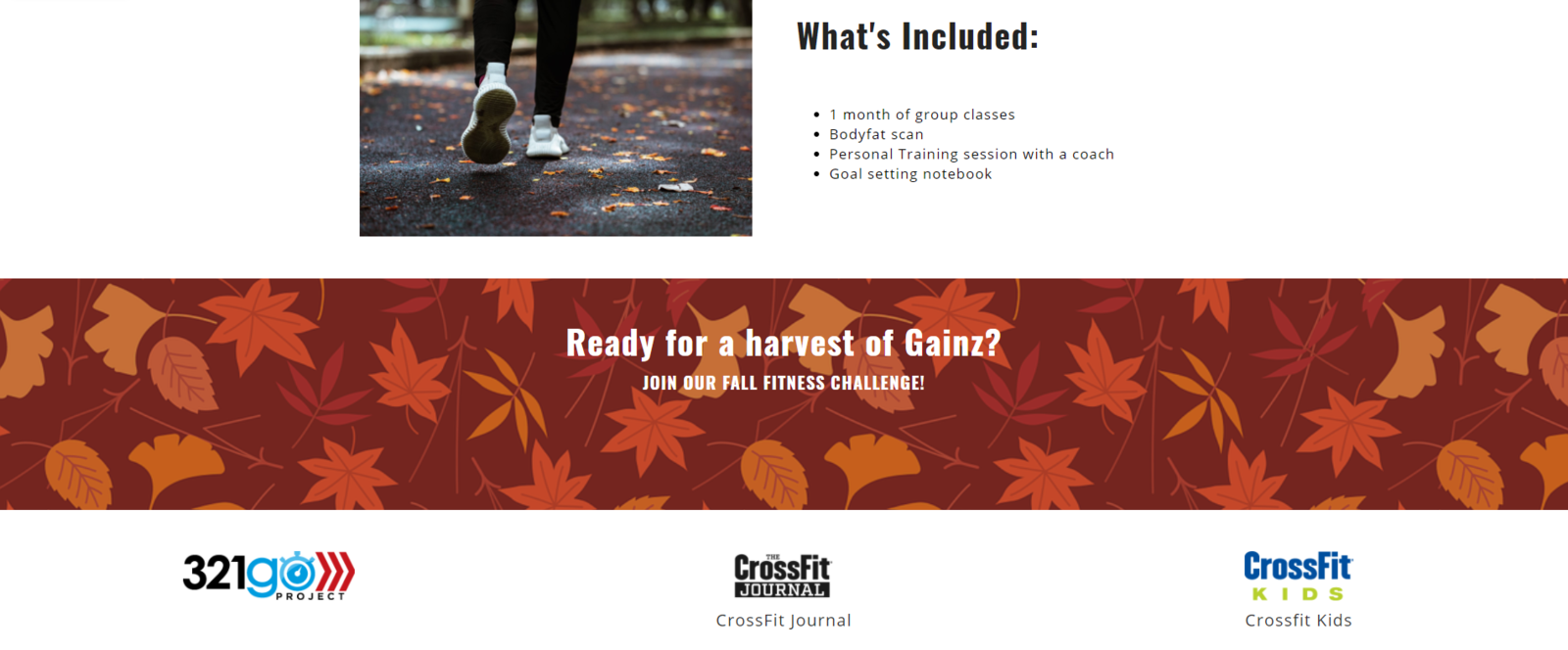 Example of  Partner block with 321Go Project, CrossFit Journal and CrossFit Kids links