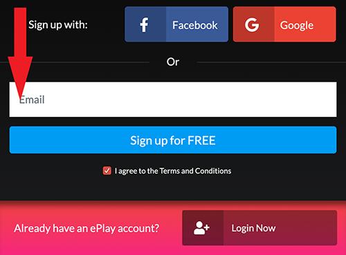 Haz clic para crear una nueva cuenta y luego ingresa tu correo electrónico.