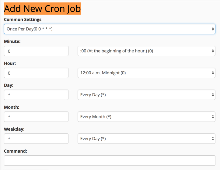 cPanel – Cron Jobs> Tilføj nyt Cron Job