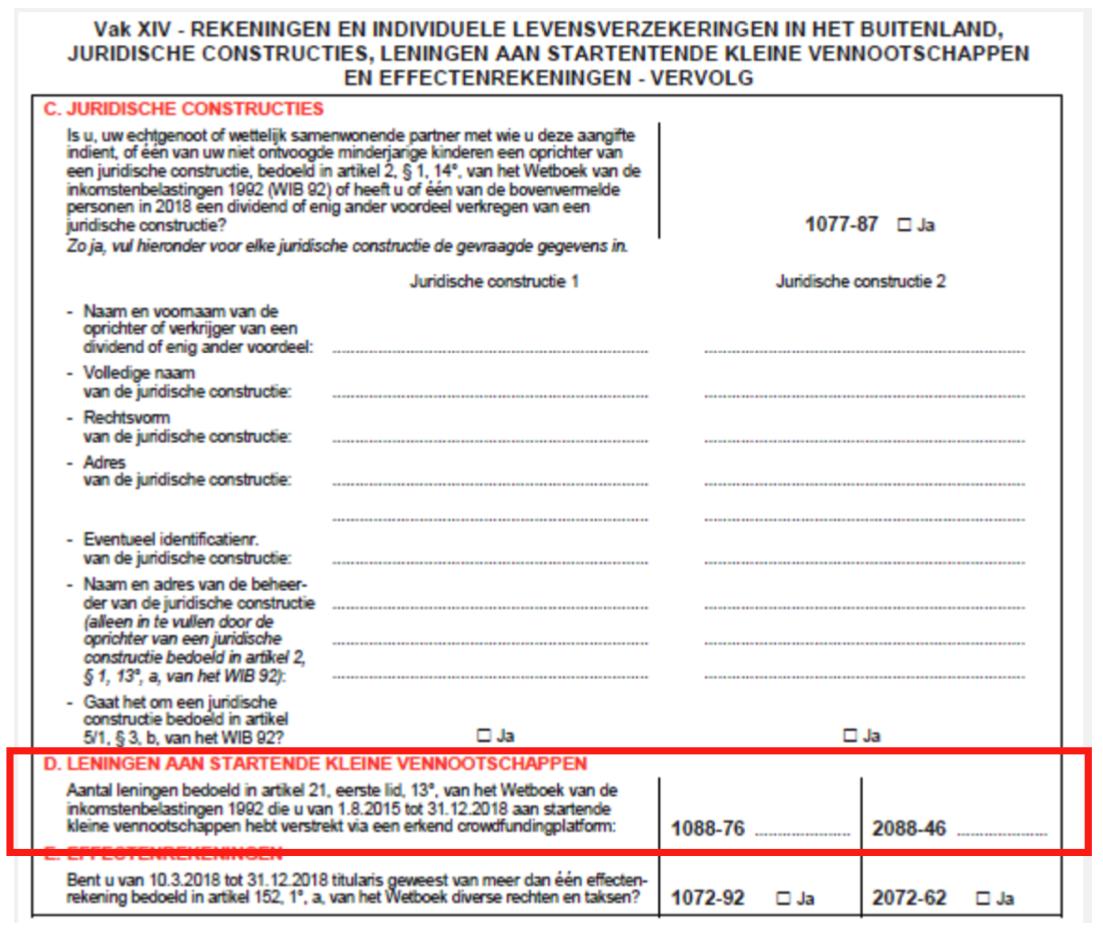 Belastingaangifte in VAK XIV