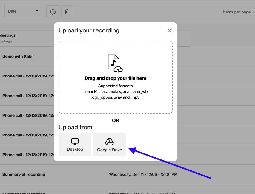 Upload the audio file