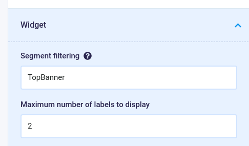 Configuring a Top Banner Widget to filter on a segment value.