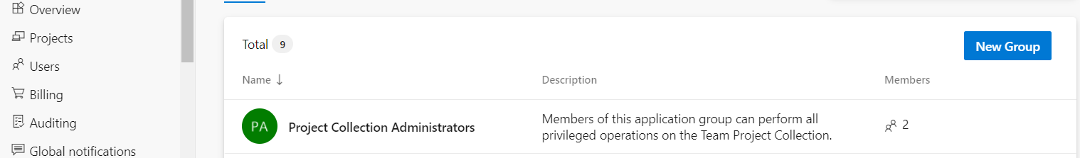 project collection administrators group