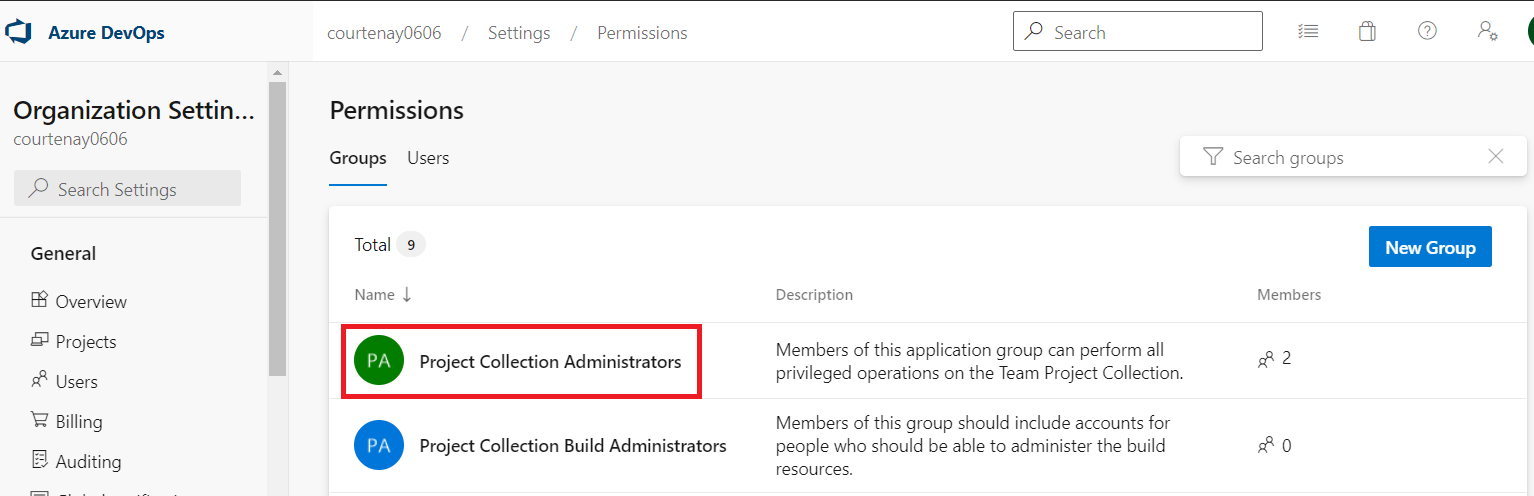 Project collection administrator group