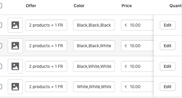 Variants on Shopify