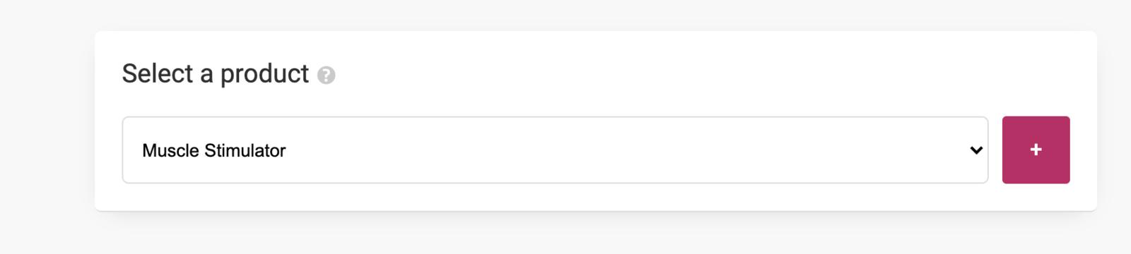 """Sélectionnez votre produit et cliquez sur """"+"""""""