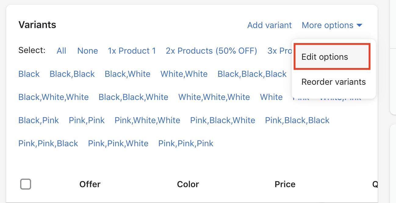 Cliquez sur Modifier les options