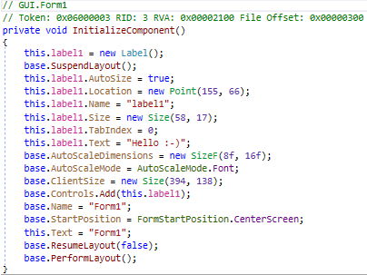 An exemple of decompiled C# code using dnSpy