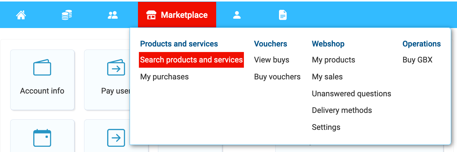 Search products and services on webshop