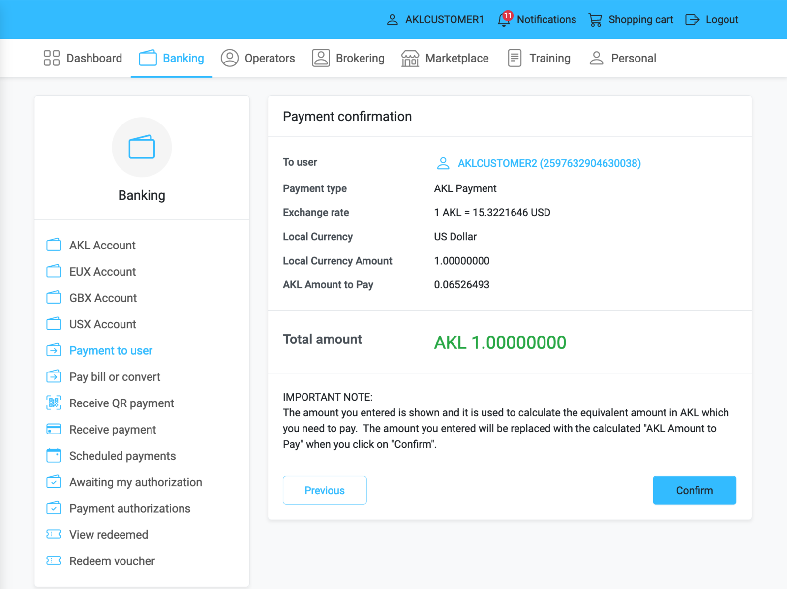 Check payment details and confirm