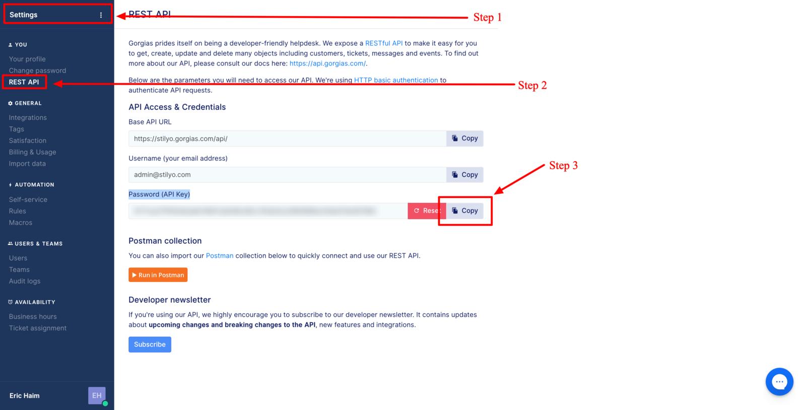 Getting the Gorgias API key