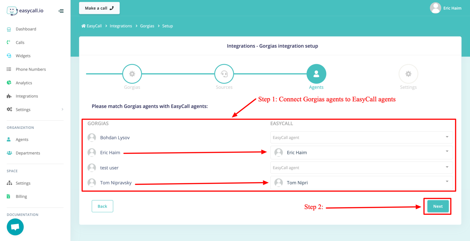 Connect Gorgias agents with EasyCall agents