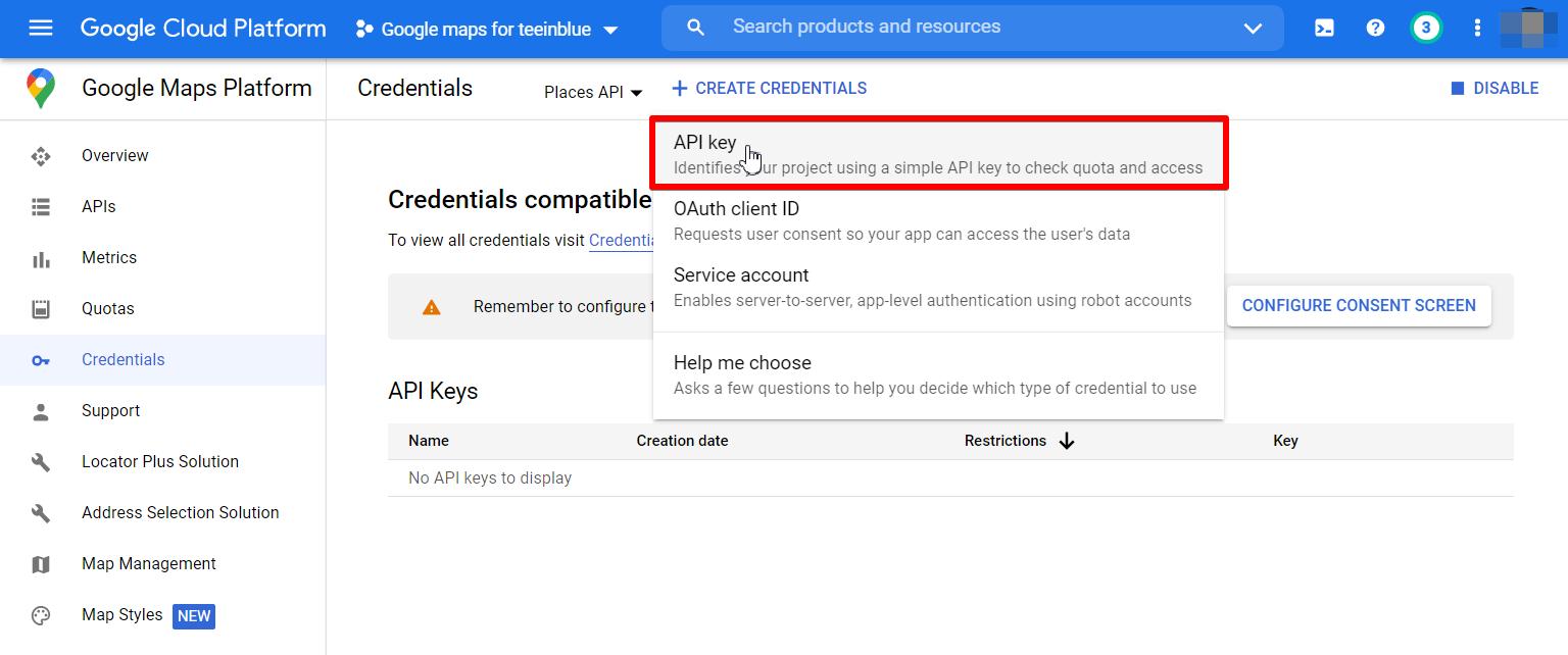 Create API key in Places API