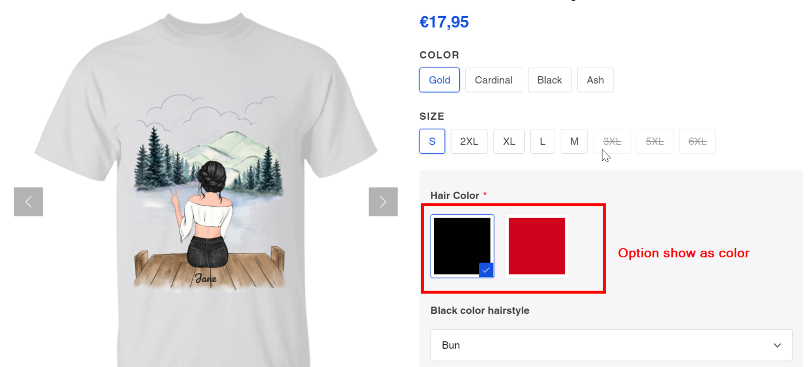 Option displayed as Color Swatches on storefront