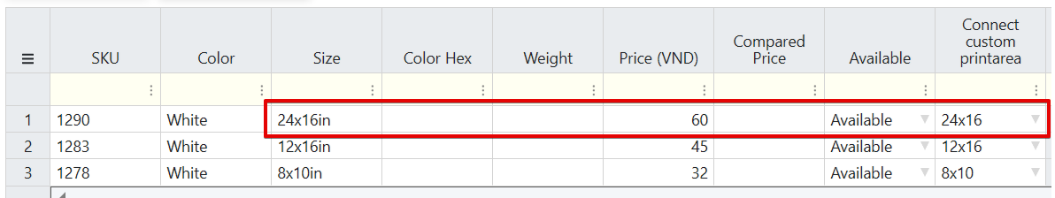 Chọn kích thước vùng in tương ứng với từng variant